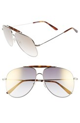 Women's Valentino 60Mm Aviator Sunglasses Light Gold Grey Flash