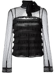Red Valentino High Neck Sheer Blouse Black