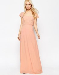 Jarlo Off The Shoulder Chiffon Maxi Dress Peach