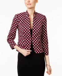 Nine West Printed Clasp Front Jacket Pink Multi