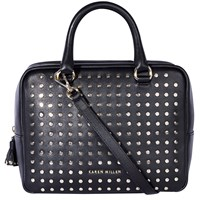 Karen Millen Large Leather Stud Bowling Bag Black
