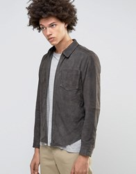 Selected Homme Plus Suede Shirt Jacket Dark Grey