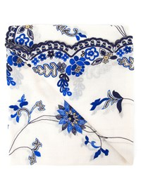 Janavi Embroidered Cashmere Scarf White Blue