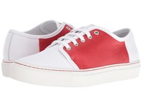 Frances Valentine Dallas Red Canvas White Leather Women's Shoes