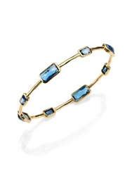 Ippolita Rock Candy London Blue Topaz And 18K Yellow Gold Gelato Eight Stone Station Bangle Bracelet Gold Blue