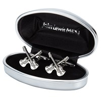 John Lewis Novelty Guitar Cufflinks Silver
