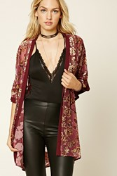 Forever 21 Contemporary Floral Kimono Wine Taupe