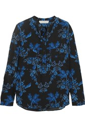 Stella Mccartney Estelle Floral Print Silk Crepe De Chine Blouse Cobalt Blue