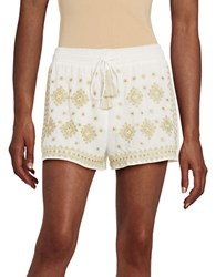 Design Lab Lord And Taylor Embroidered Drawstring Shorts White