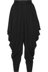 Milly Draped Silk Blend Tapered Pants Black
