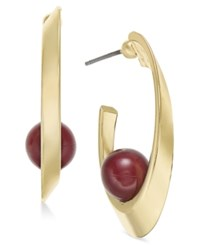Inc International Concepts Gold Tone Beaded Half Hoop Earrings Only At Macy's Merlot