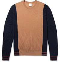 Paul Smith Colour Block Merino Wool And Silk Blend Sweater Brown