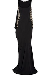 Antonio Berardi Cape Detailed Embellished Tulle Paneled Stretch Cady Gown Black