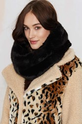 Nasty Gal Neck And Neck Faux Fur Infinity Scarf Black