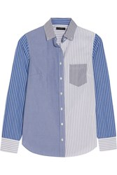 J.Crew Cocktail Striped Cotton Poplin Shirt Blue