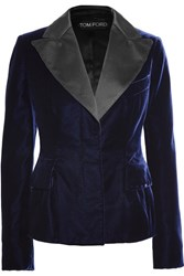 Tom Ford Satin Trimmed Velvet Blazer Midnight Blue