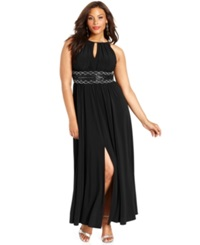 R And M Richards Plus Size Sleeveless Beaded Gown Black
