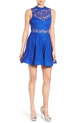 Women's Bee Darlin Illusion Mock Neck Lace Fit And Flare Dress