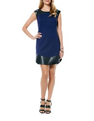 Laundry By Shelli Segal Leatherette Accented Sheath Dress Inkblot Black