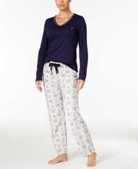 Nautica V Neck Knit Top And Flannel Pajama Pants Gift Set Navy Anchors