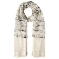 John Lewis Textured Stripe Cotton Scarf Ecru Black