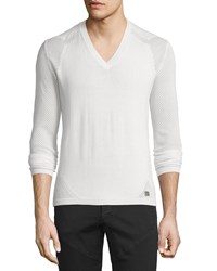 Versace V Neck Sweater With Mesh Sleeves Beige