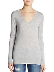 Splendid V Neck Sweater Heather Grey