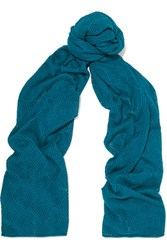 Magaschoni Open Knit Silk And Cashmere Blend Scarf Teal