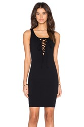 Donna Mizani Lace Up Mini Dress Black