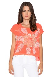 New Friends Colony Short Sleeve Crop Top Coral