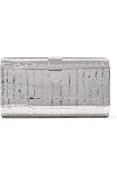 Edie Parker Rebekah Embossed Metal Clutch Silver