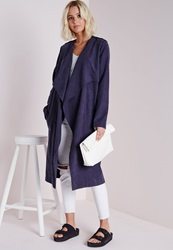 Missguided Waterfall Collarless Trench Coat Navy Blue
