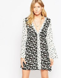 Max C Patchwork Beach Dress With Fluted Sleeves Floral Patchwork