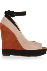 Paul Andrew Whitney Color Block Suede Wedge Sandals Taupe