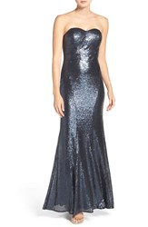 Lulus Women's Lulu's Strapless Sequin Mermaid Gown Matte Navy