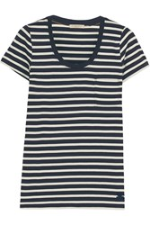 Burberry Brit Striped Cotton Jersey T Shirt Midnight Blue