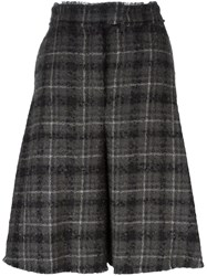 Thom Browne Plaid Wide Cropped Trousers Grey