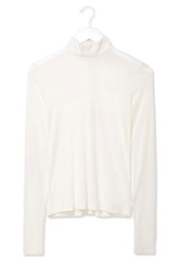 Jersey Roll Neck Top By Boutique Cream