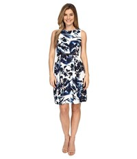 Adrianna Papell Printed Faille Pleated Sleeveless Dress Navy Ivory Women's Dress Blue