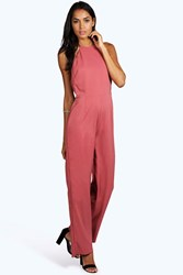 Boohoo Freya Halter Backless Wide Leg Jumpsuit Nude