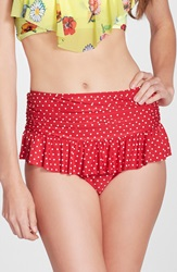 Betsey Johnson 'Caroline No' Polka Dot High Waist Bikini Bottoms Red White