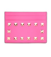 Valentino Rockstud Leather Card Holder Pink