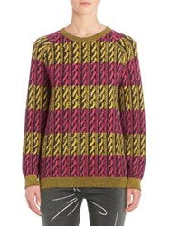 Moschino Striped Faux Cable Knit Wool Sweater Yellow Pink