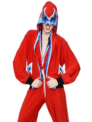Jean Paul Gaultier Hooded Mask Lycra Jersey Sweatshirt Red