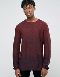 Jack And Jones Crew Neck Knitted Jumper In Yarn Dye Burgundy Red