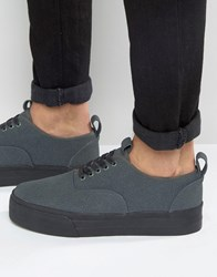 Asos Plimsolls In Grey Faux Suede With Chunky Sole Grey