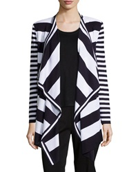 Misook Striped Drape Front Cardigan Navy White