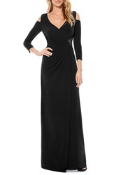 Petite Women's Laundry By Shelli Segal Cold Shoulder Embellished Jersey Gown Black