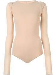 Maison Martin Margiela Maison Margiela Padded Shoulder Bodysuit Nude And Neutrals