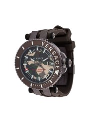 Versace 'V Race Camo Diver' Watch Brown